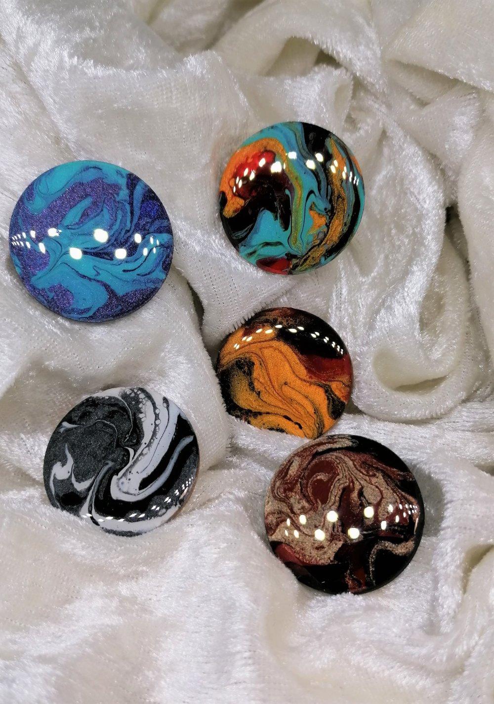 lot de cabochons 30 mm en bois résiné multicolorepour créations bijoux et divers,fournitures bijoux,