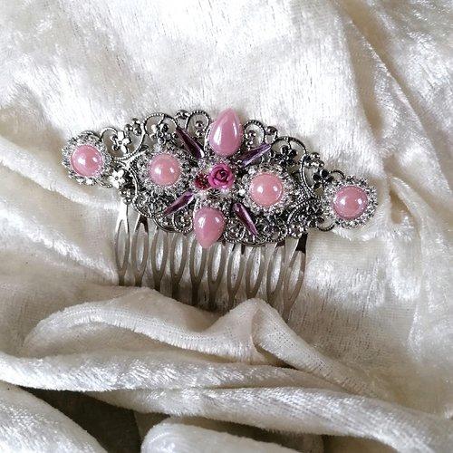 Accessoire coiffure, peigne décoratif douceur rose argenté