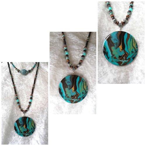 Collier long multi rangs marron turquoise multicolore, gros pendentif unique fait main