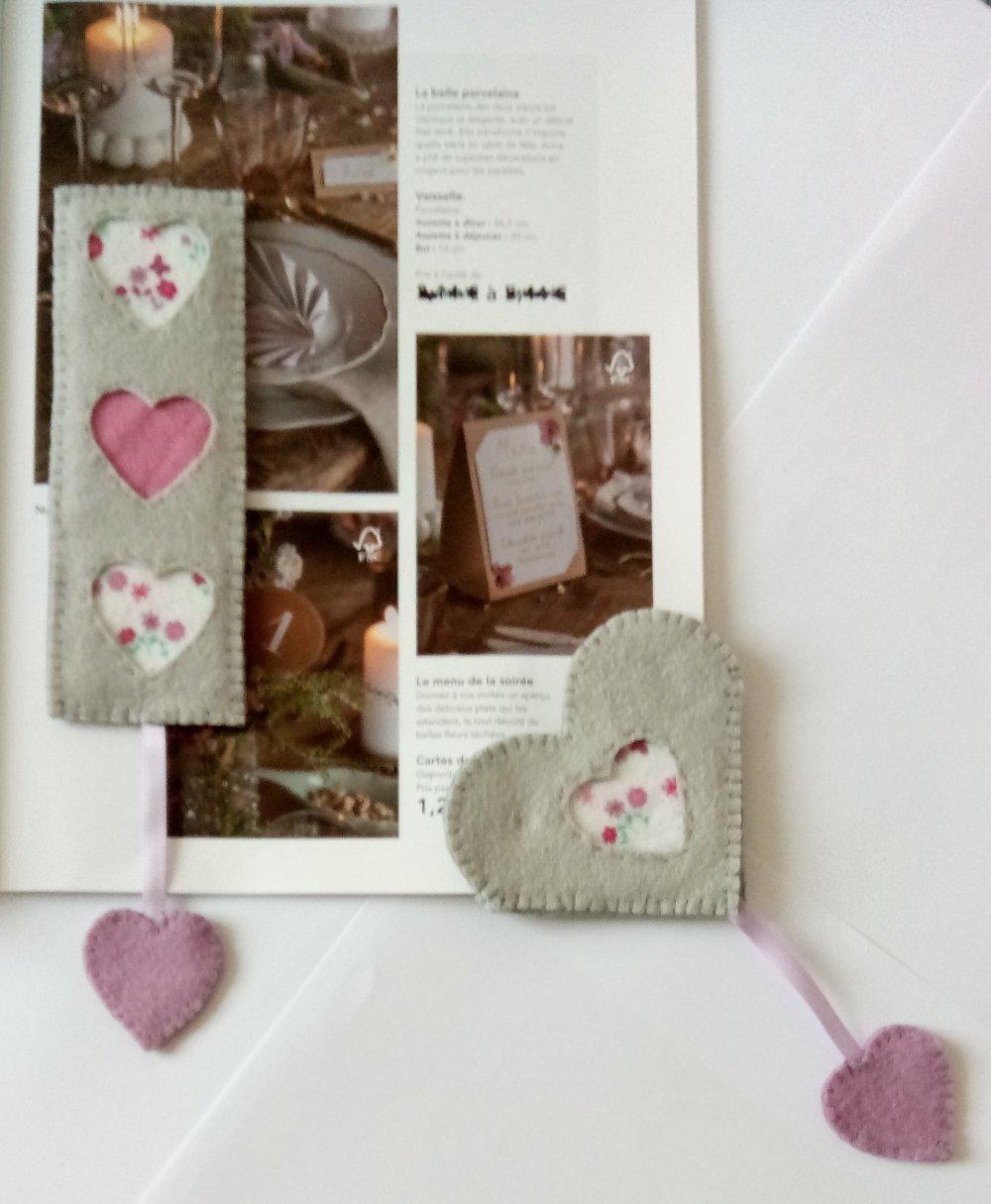 Marque-page chic et romantique. Base grise agrémenté de petits cœurs unis ou fleuris dans les tons vert, bleu d'eau ou rose, mauve.