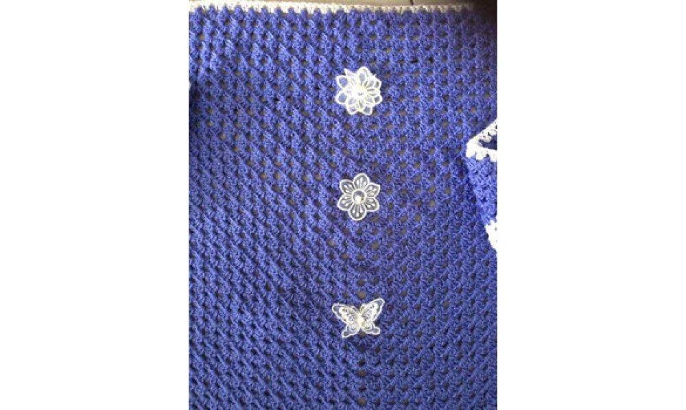 VENDU - Châle 180 x 100 cm - violet - blanc [209]