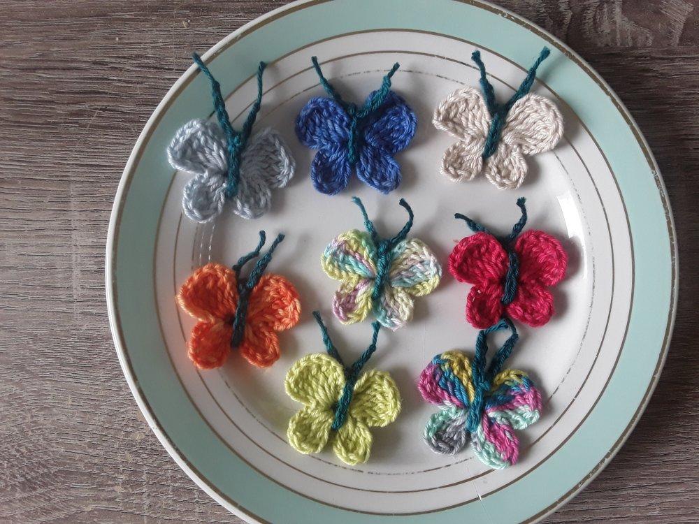 Papillons en coton au crochet   2