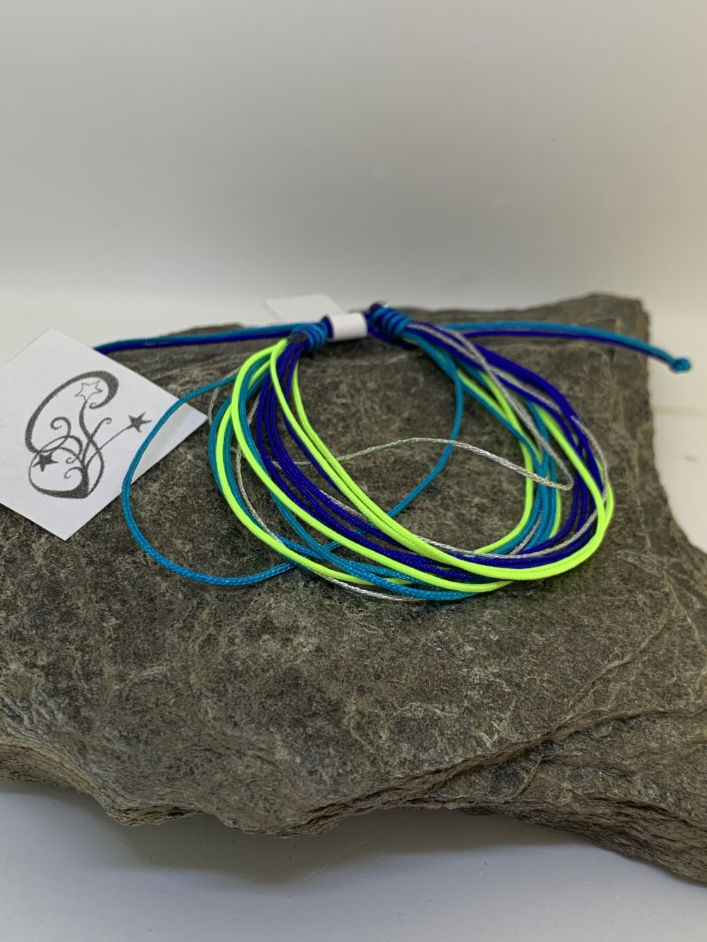 """Bracelet """"Finesse multirang"""" bleu jaune fluo turquoise argenté"""