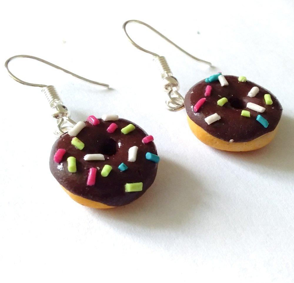 Boucles d'oreilles donut multicolore