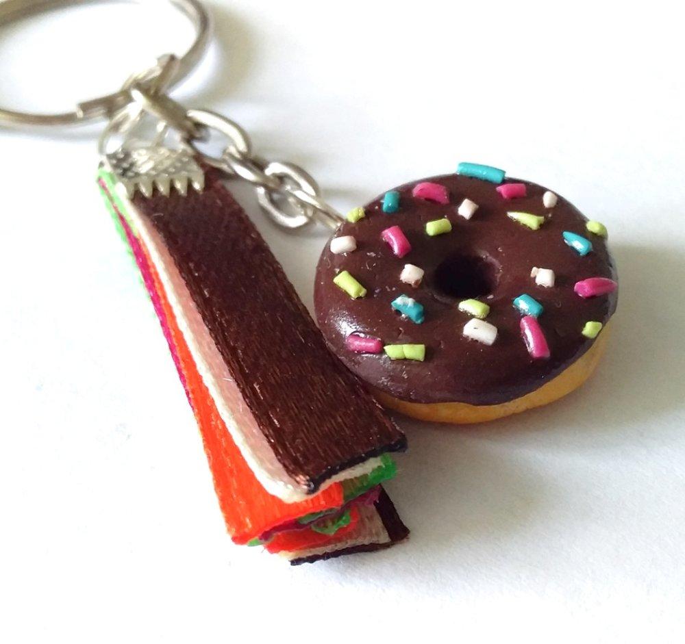 Porte clés donut multicolore