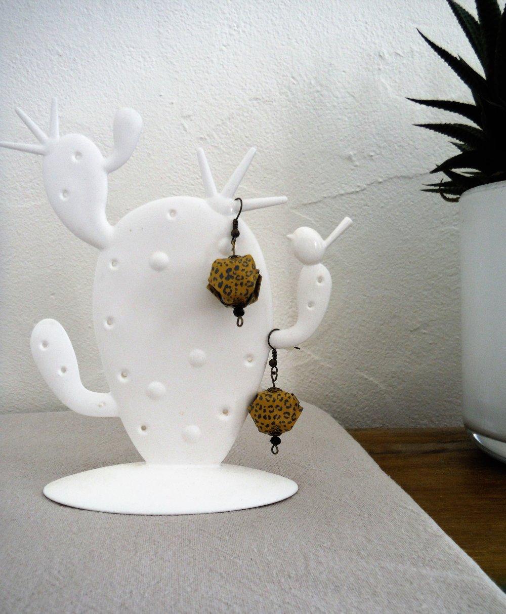 Boucles d'oreilles origami lampion japonais motifs panthère