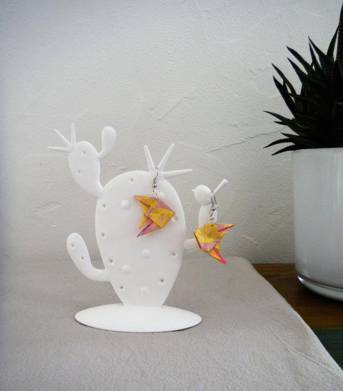 Boucles d'oreille origami poissons ange jaunes