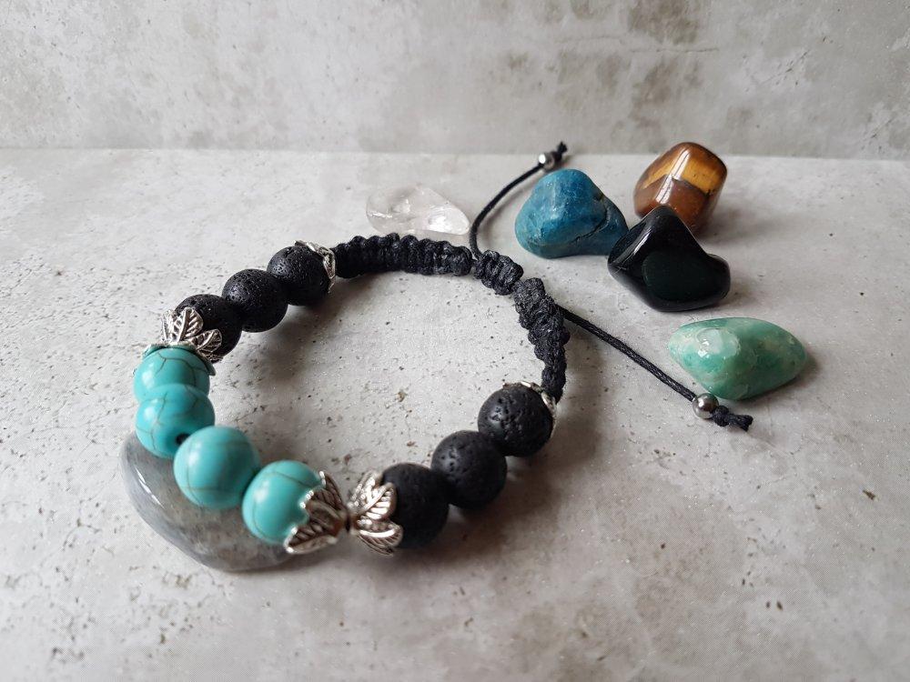 Bracelet pierres turquoises et pierre de lave