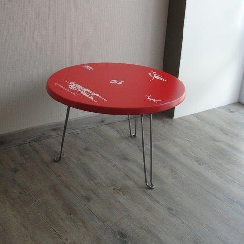 Table basse ronde vintage thème sud-ouest