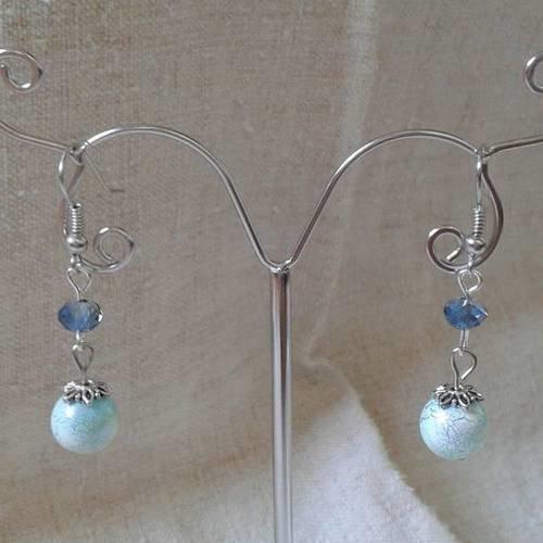"""Boucles d'oreilles """"perle craquelée bleue"""""""