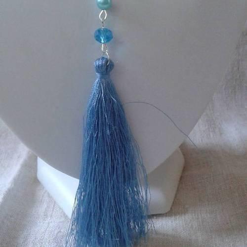 """Collier """"grand pompon bleu et perle"""""""