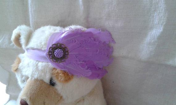 """bandeau """"plumes violettes et fleur assortie"""""""