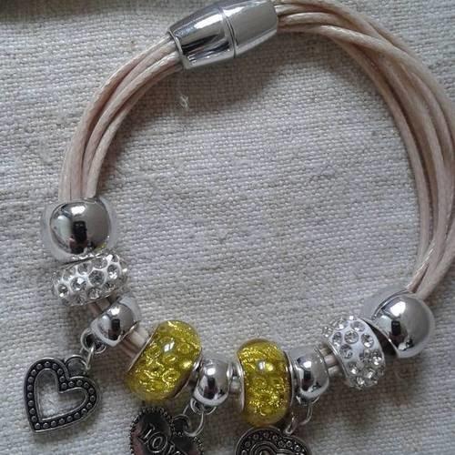 """Bracelet """"cordons et perles pandoras jaunes et blanches"""""""