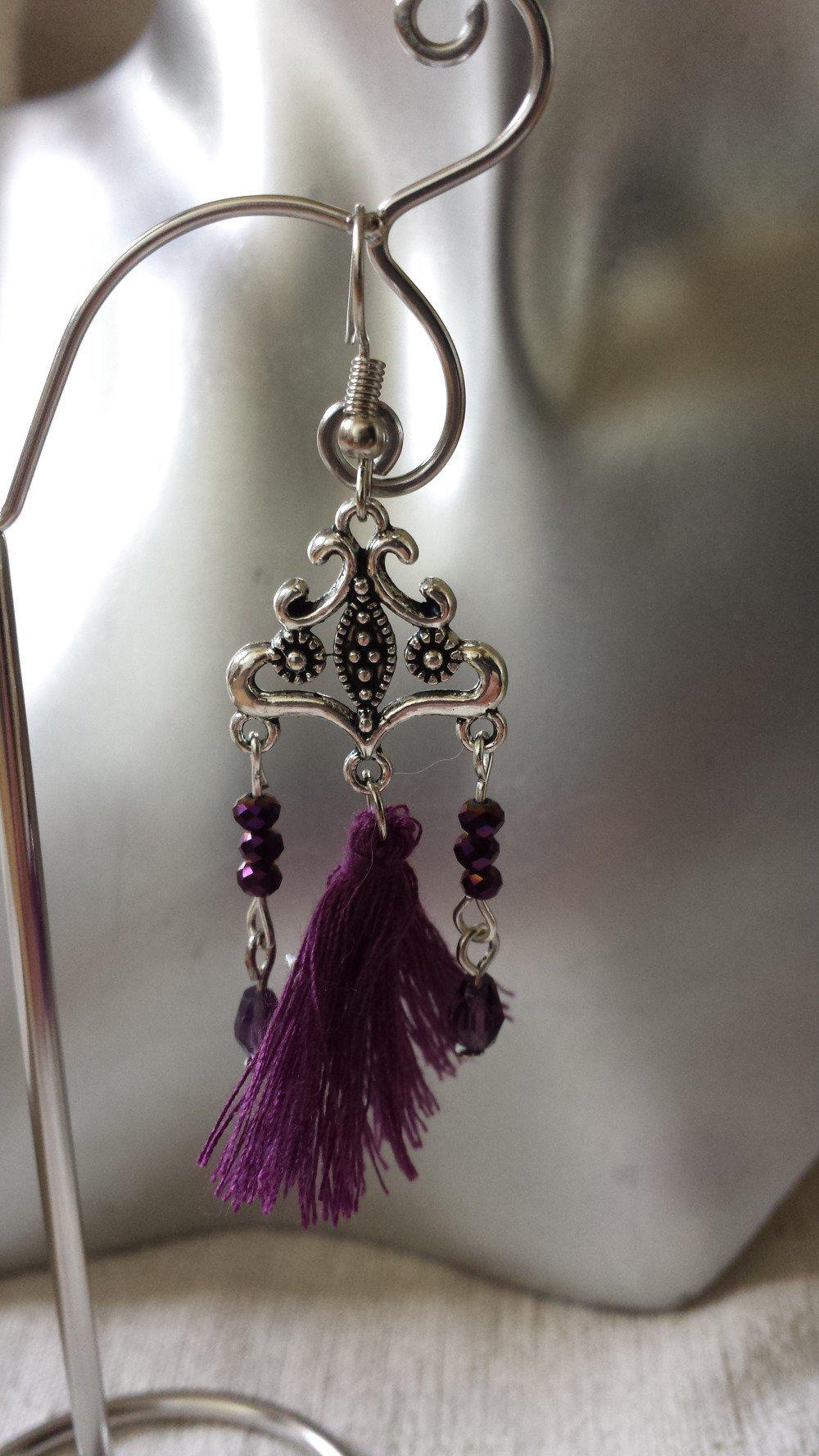 """boucles d'oreilles """"perles et pompon violets"""""""