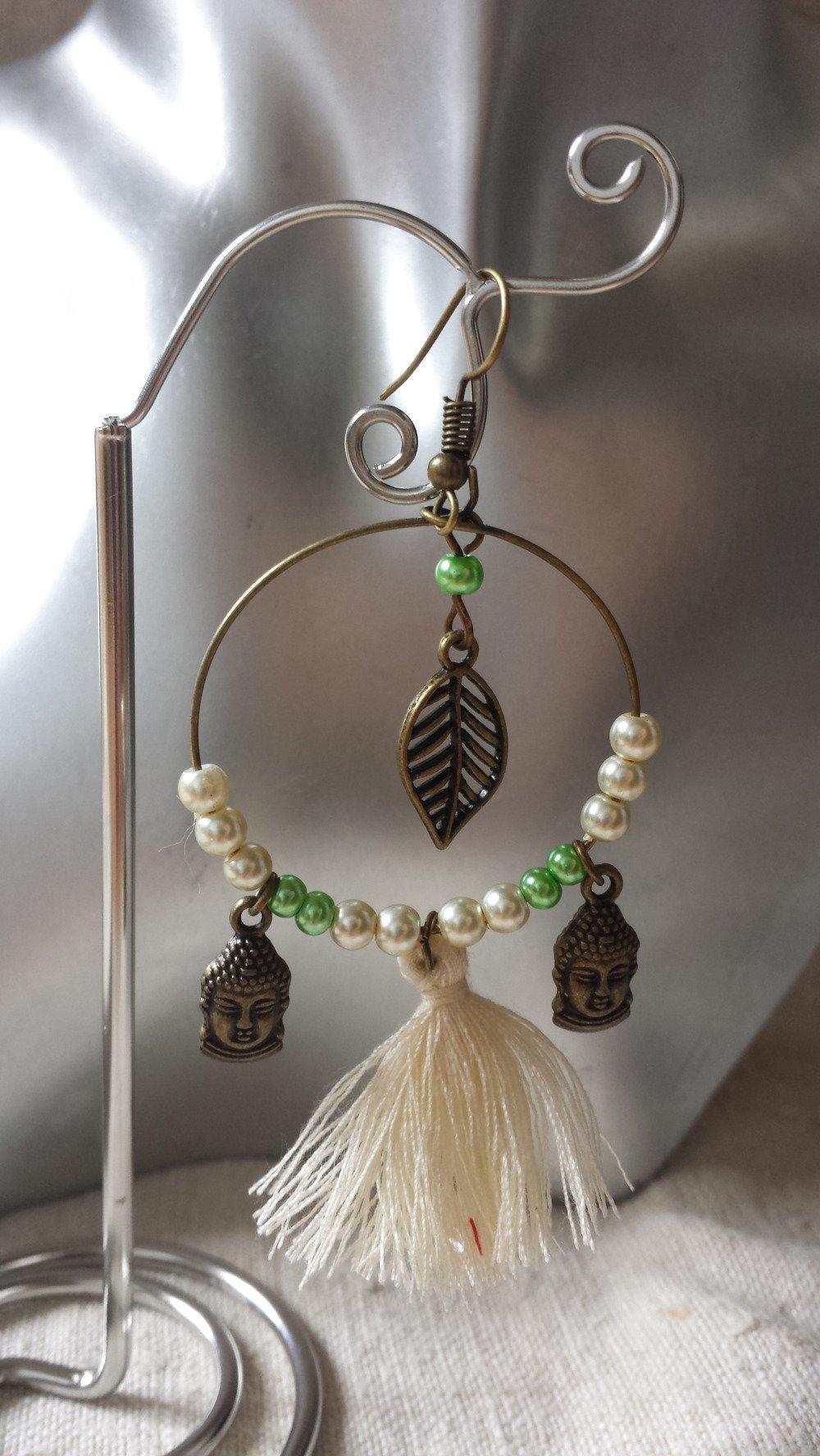 boucles d'oreilles créoles bouddhas