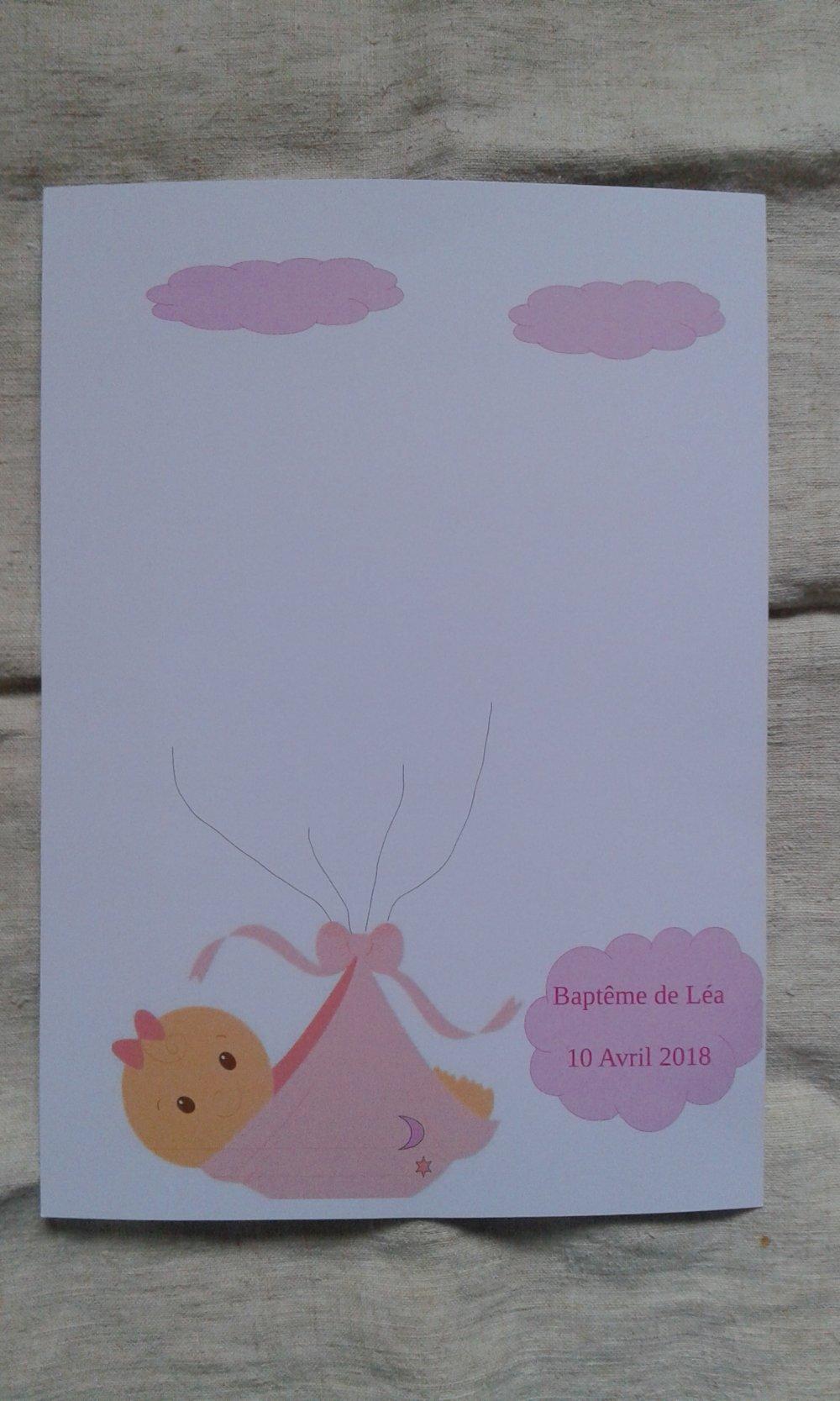 arbre à empreintes, bébé fille, pour baptême, babyshower, personnalisable, avec encre