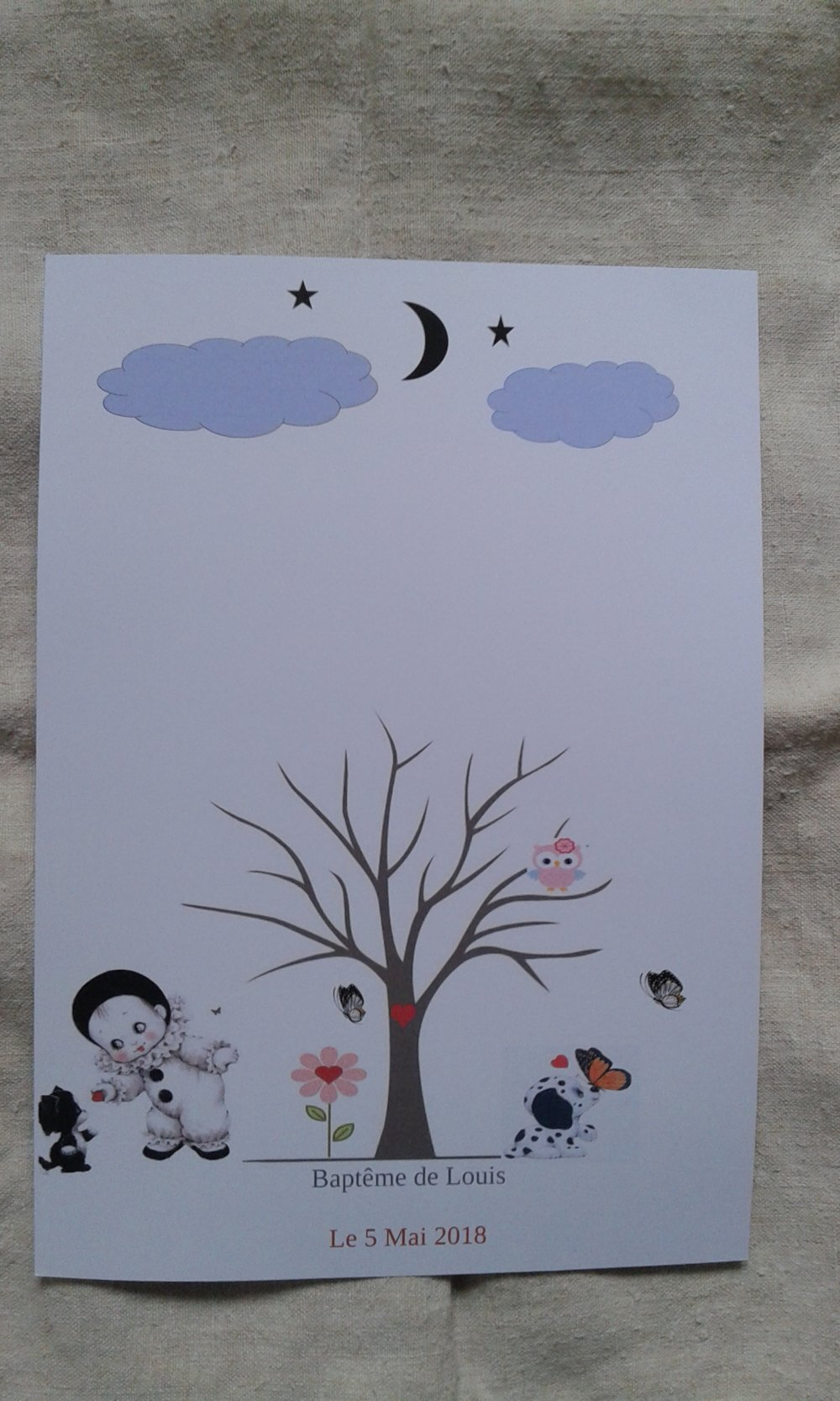 arbre à empreintes pierrot, pour baptême, babyshower, personnalisable avec encre