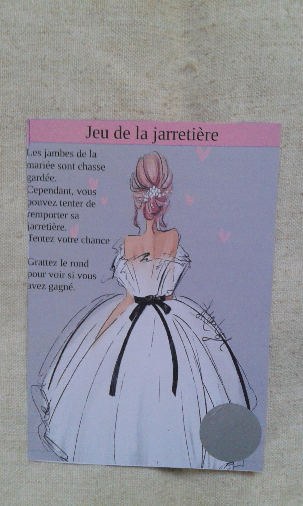 """lot de 25 cartes à gratter """"jeu de la jarretière"""", modéle mariée, personnalisables"""