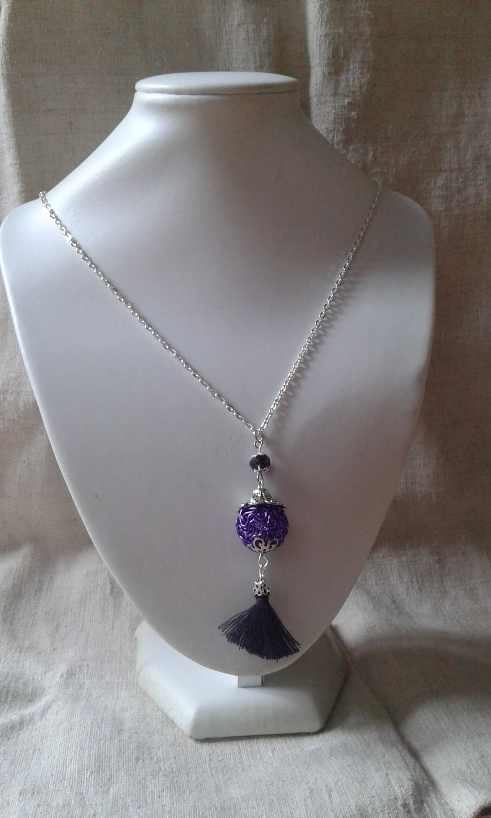 """collier """"perle fils violets"""""""