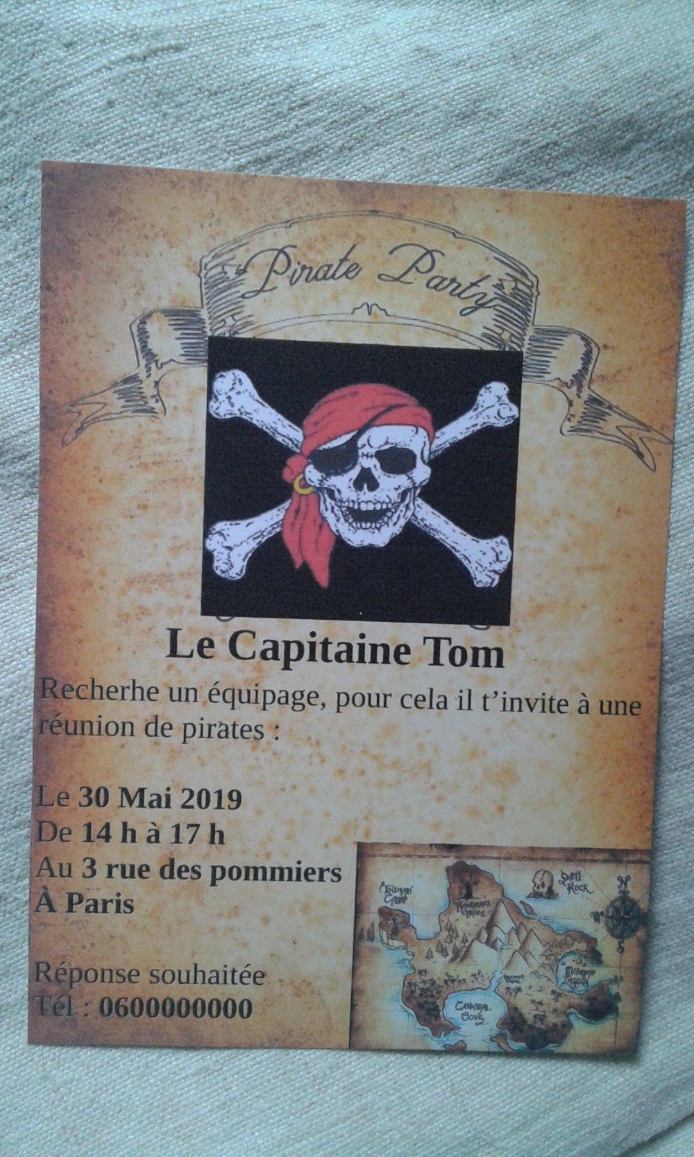 carte invitation anniversaire, pirate, carte à gratter ou pas, personnalisable