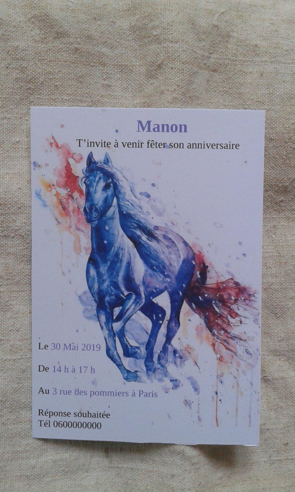 Carte Invitation Anniversaire Cheval Modele A Gratter Ou Pas Personnalisable Un Grand Marche
