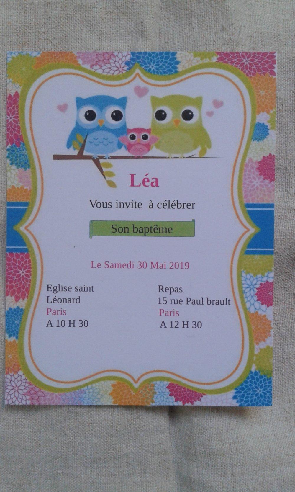 """carte invitation """"hibou fille"""", de baptême"""