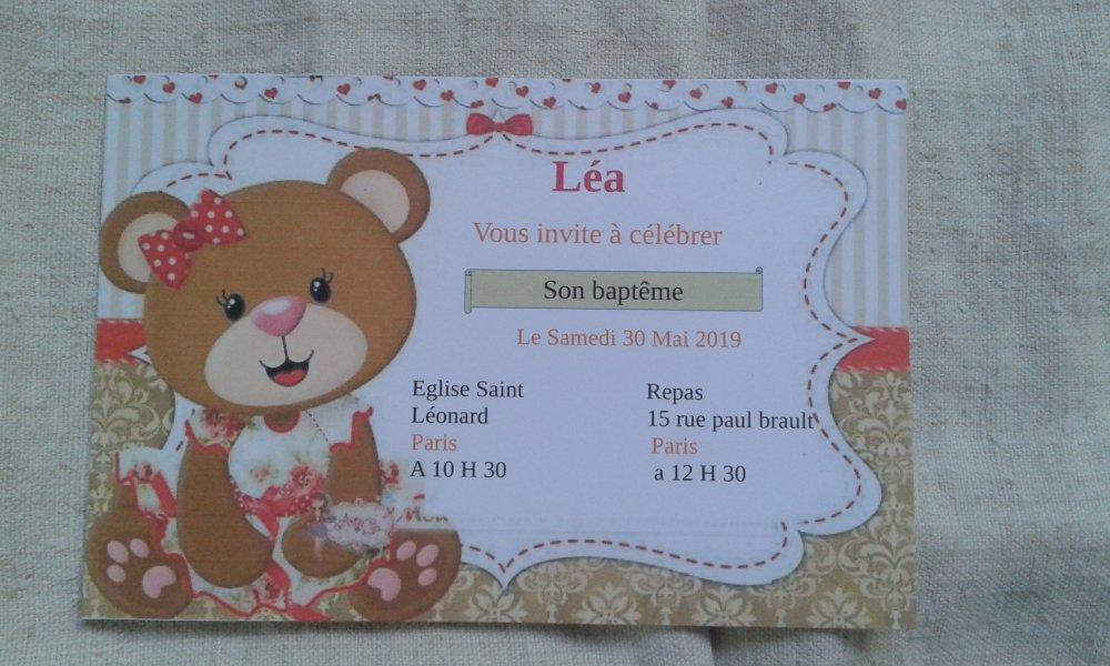 "carte invitation ""ourson fille"", de baptême"