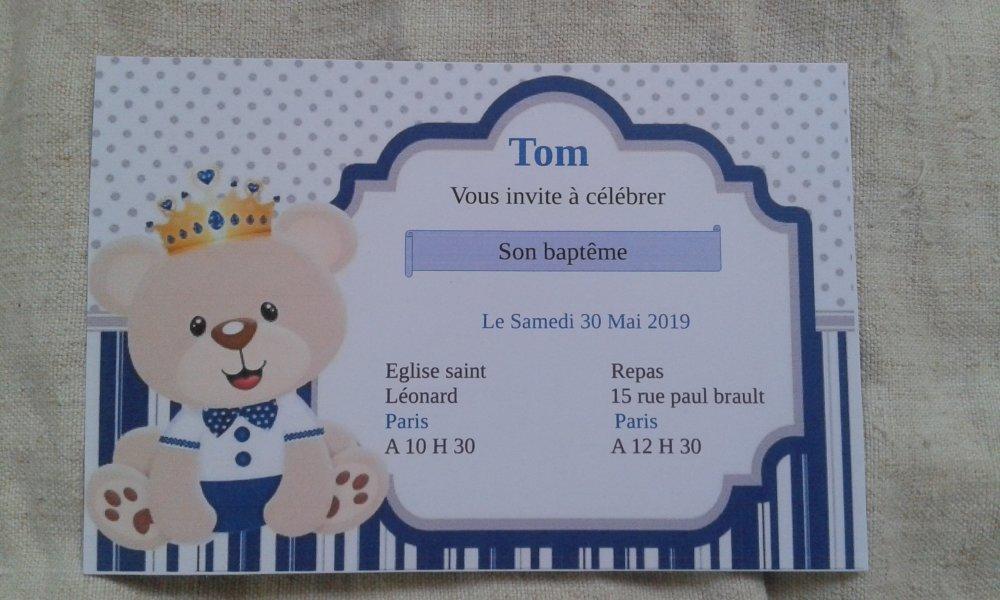 """carte invitation """"ourson garçon"""", de baptême"""