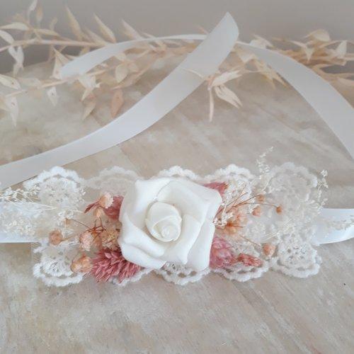 Bracelet pour mariée fleurs séchées