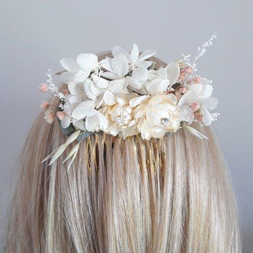 Peigne en fleurs séchées pour mariée