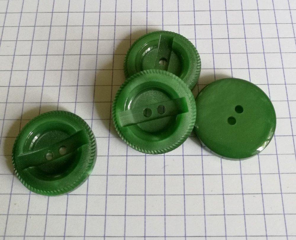 bouton plastique vert 15 mm