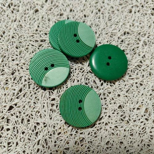 Bouton  vert plastique 22 mm lot de 5 pieces