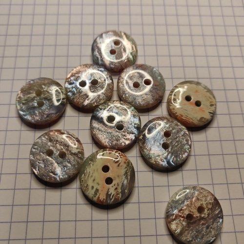Boutons ronds 17 mm bleu, rose, gris