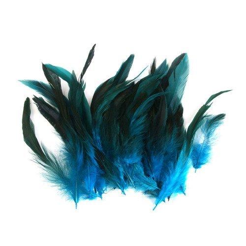 1 vraie plume de faisan bleu turquoise, vert, noir tailles de 16 à 12 cm