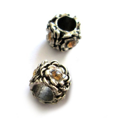 1 perle fleur en métal argenté et strass ambre 10 x 9 mm trou 5 mm