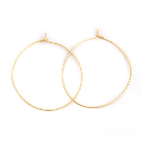 Lot de 2 supports boucle d'oreille rond créoles anneaux en métal doré acier inoxydable