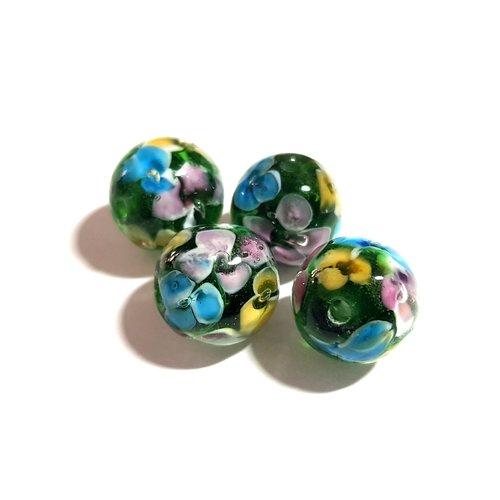 Lot de 20 perles craquelées Ovales en verre 10 x 14 mm Vert Jaune