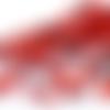 Lot de 50 perles en verre ronde lisse rouge argenté 4mm