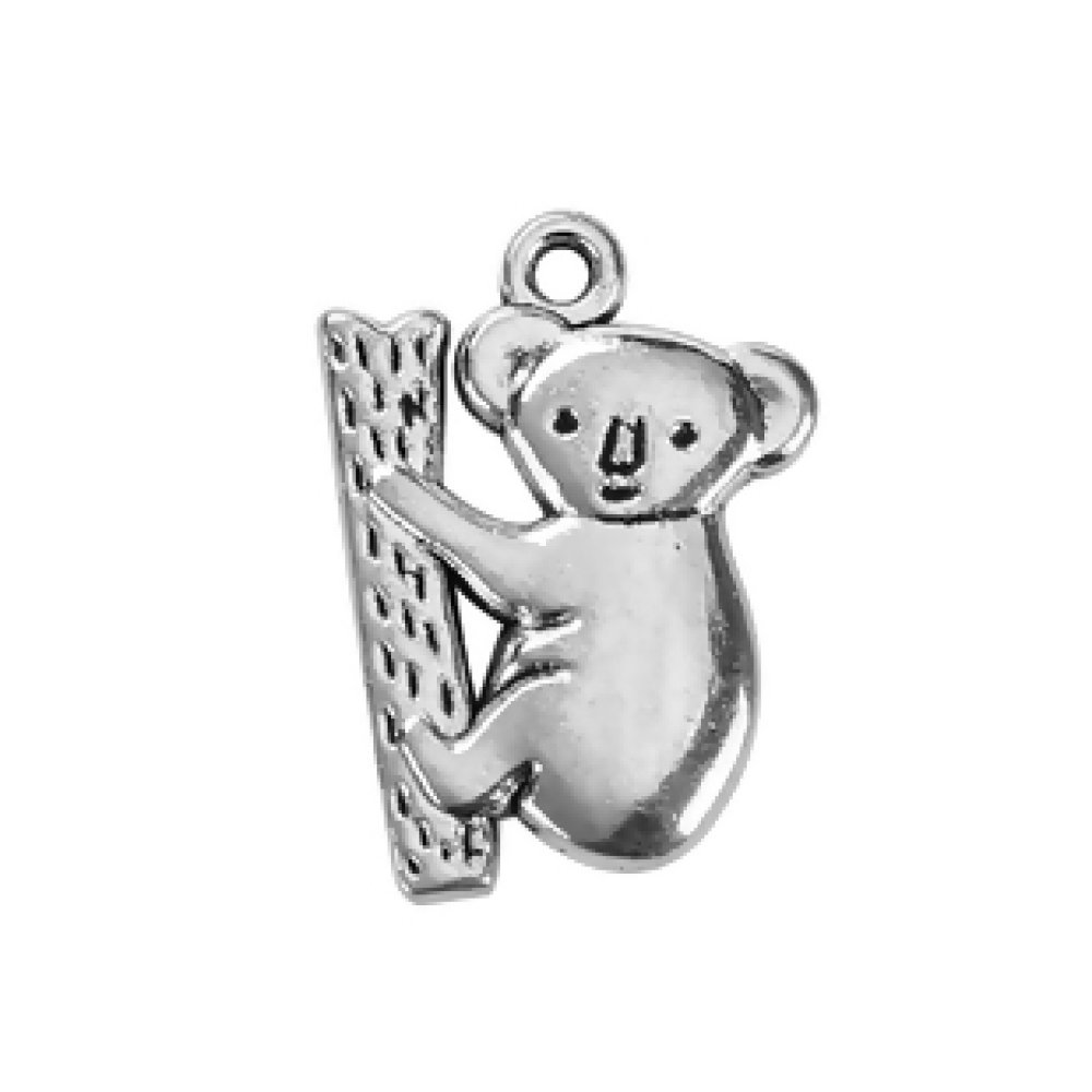 1 breloque pendentif en forme animaux Koala , métal argenté