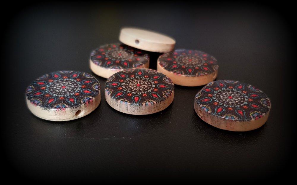 1 perle en bois en de forme Plat-Rond rosasse, rouge foncé, beige, bleu, noir 20x4.6mm