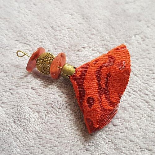 1 montage pompon, orange en tissu souple perle en métal, rondelle nacre plate, tige, calotte en métal bronze