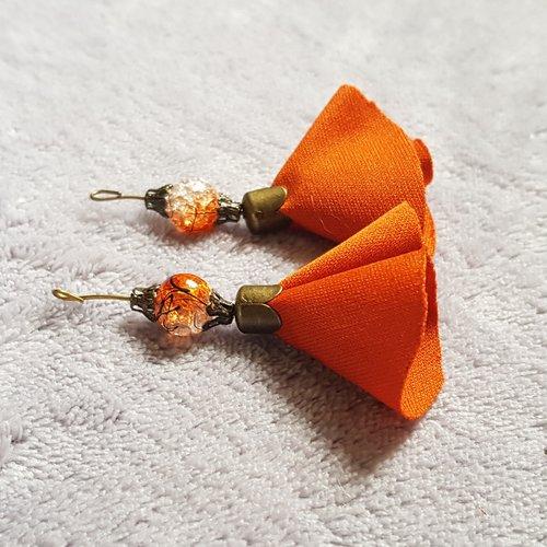 1 montage pompon, orange en tissu souple perle en verre, tige, calotte en métal bronze