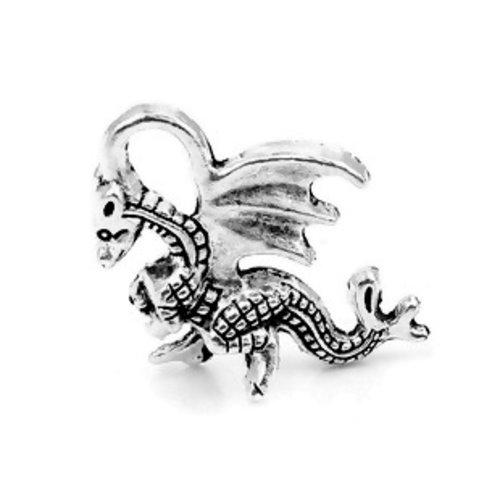 1 breloque dragon animaux volant métal argenté 21x14mm