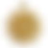 1 pendentif connecteur fleur de vie ajourée, soleil en métal doré 29x25mm
