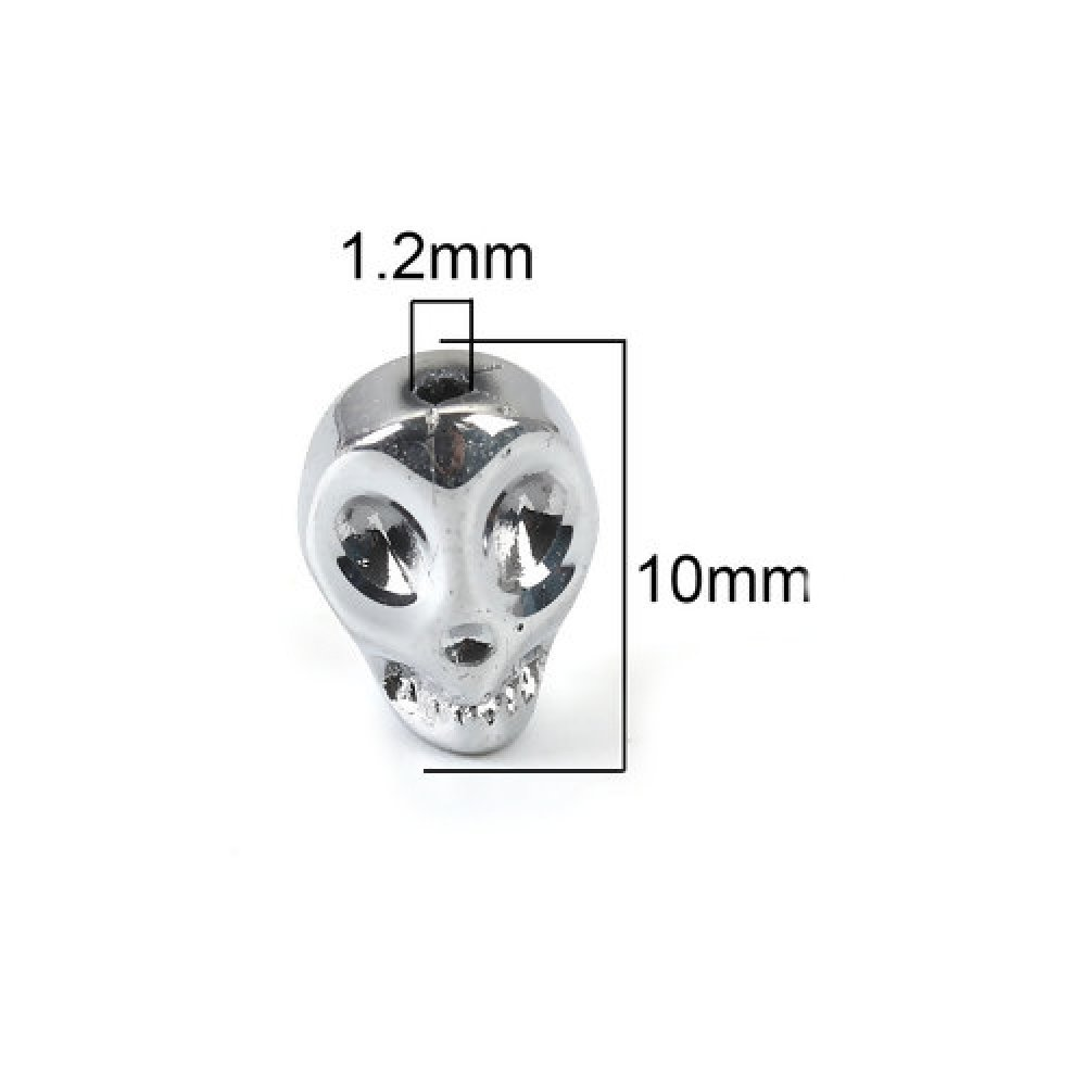 1 perle tête de mort argenté en verre 10x8mm