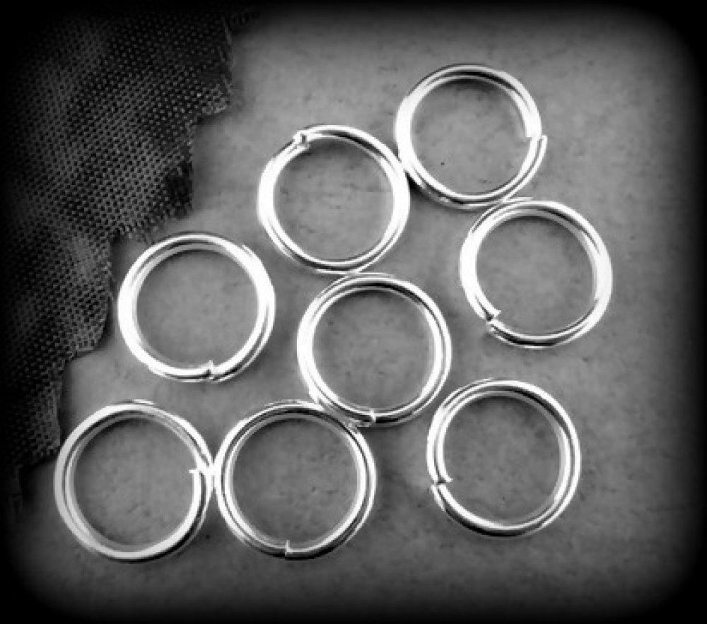 lot de 10 anneaux de jonction en métal argenté clair 12mm