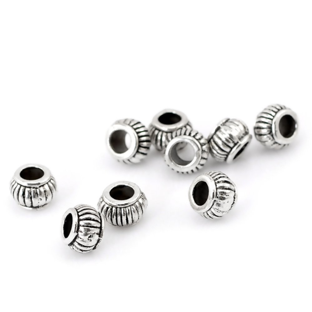 1 Perle Lanterne, ronde, Rayée métal argenté 7x5mm