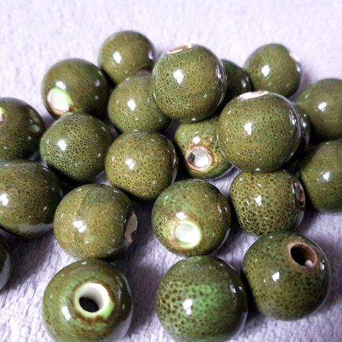 1 grosse perle en porcelaine émaillée vert kaki moucheté 18mm