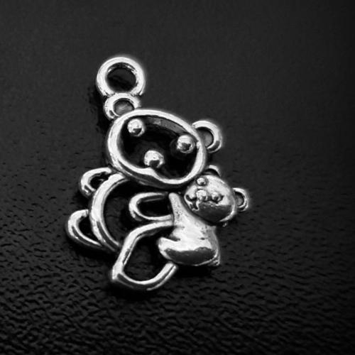 1 breloque, pendentif panda ours ajouré en métal argenté 17x15mm