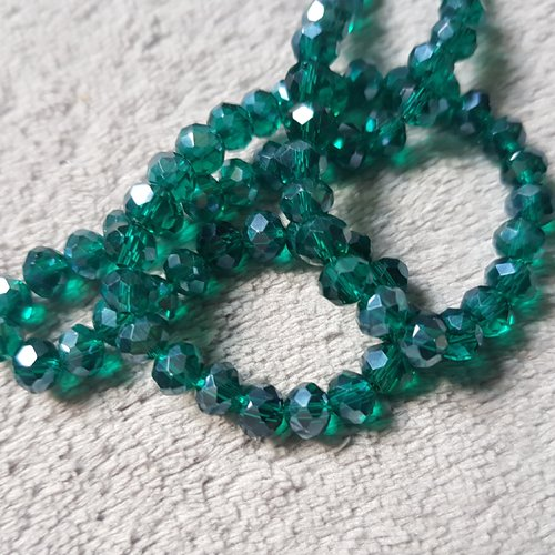 Lot de 90 perles soucoupe à facette en verre vert foncé 6x4mm